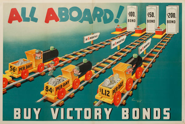 Original WWII Canadian Bond Poster All Aboard! Buy Victory Bonds