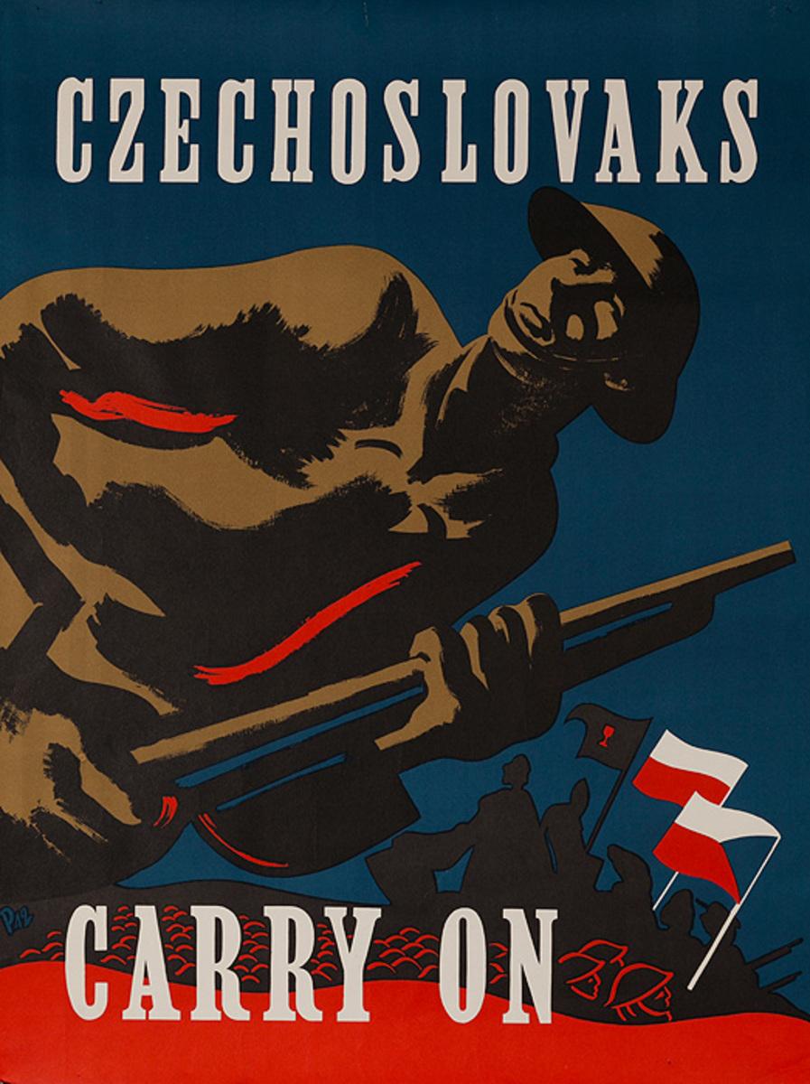Czechoslovaks Carry On Original WWII Poster