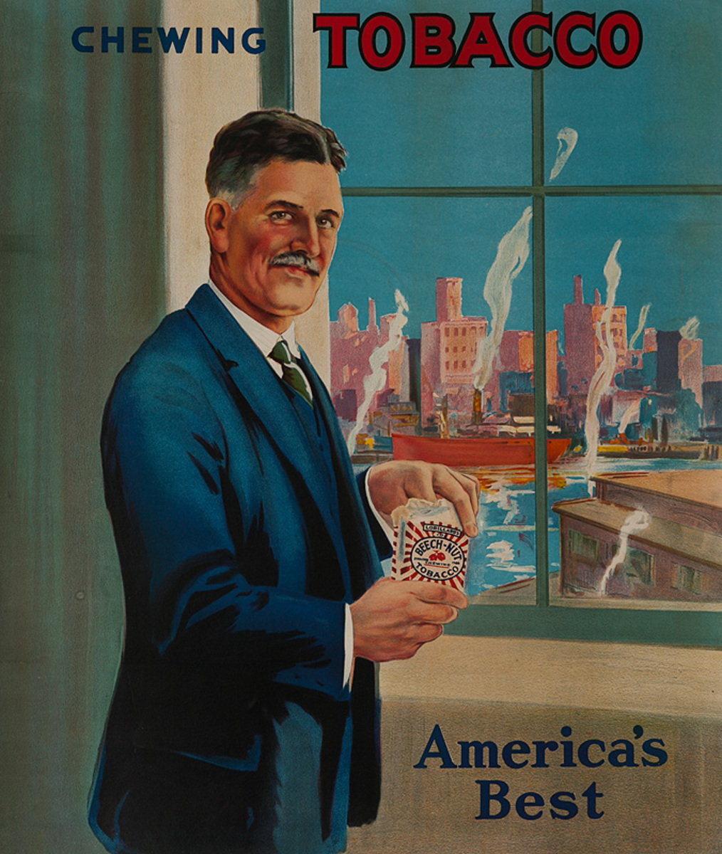 America's Best Chewing Tobacco Original American Advertising Poster