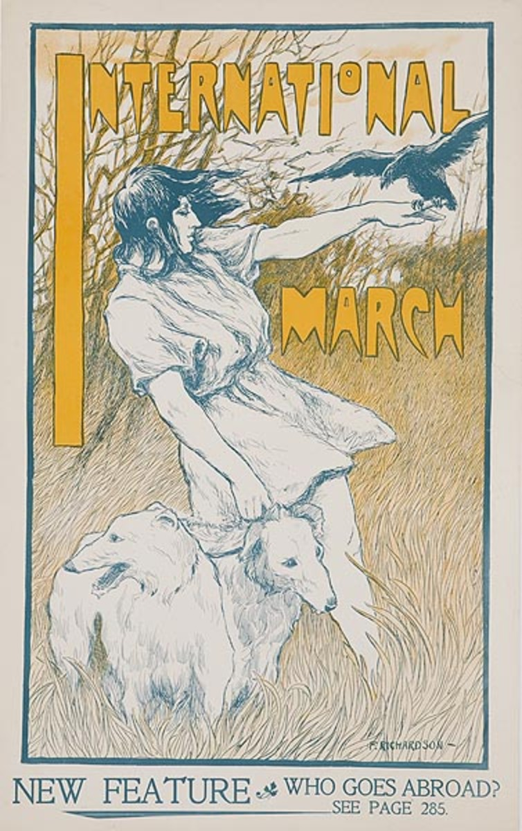International March Woman with Dogs Original American Literary Poster