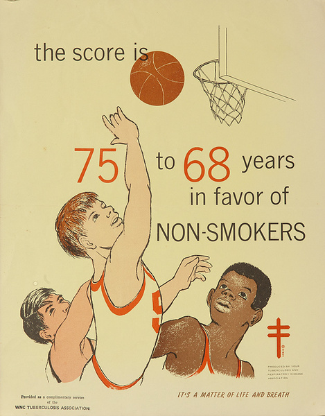 The Score is in Favor of Non-Smokers Original TB Health Poster