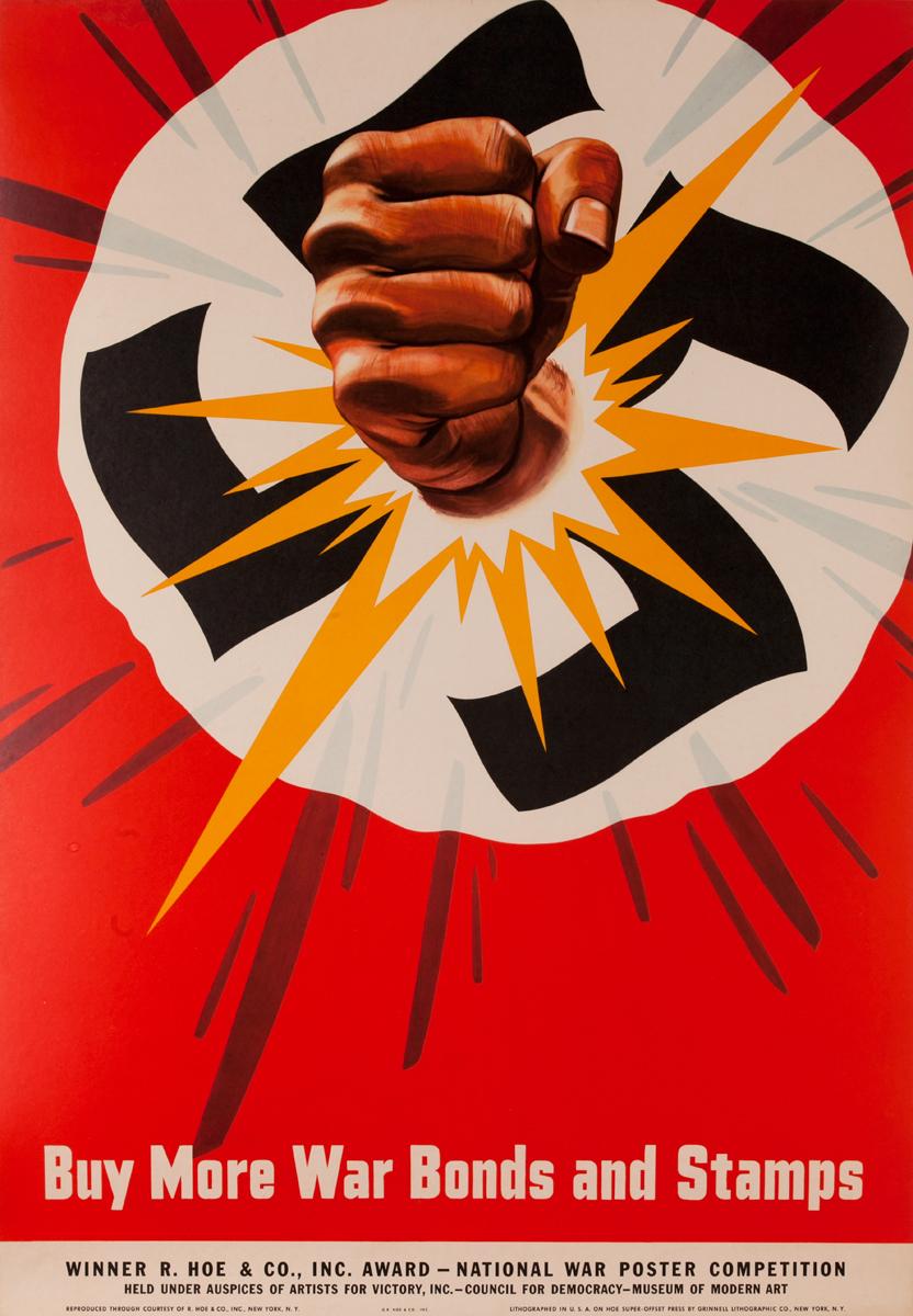 Buy More War Bonds and Stamps Original WWII Poster Broken Swaztika