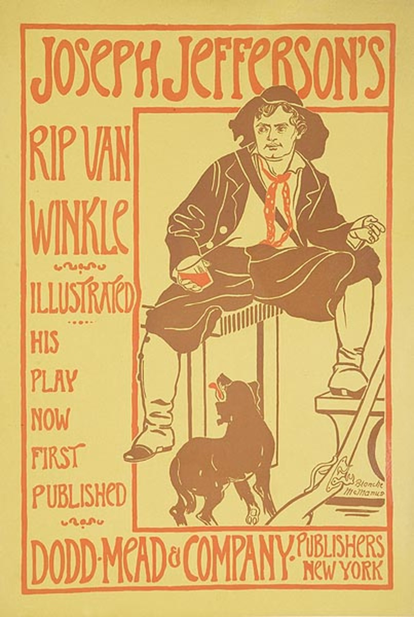 Joseph Jefferson's Rip Van Winkle Dodd Mead and Company Original American Literary Poster