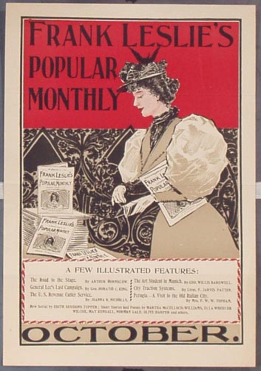 Frank Leslie's Popular Monthly October Original Vintage Literary Poster