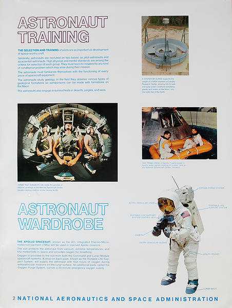 NASA Apollo Program Educational and Science Poster #2 Astronaut Training