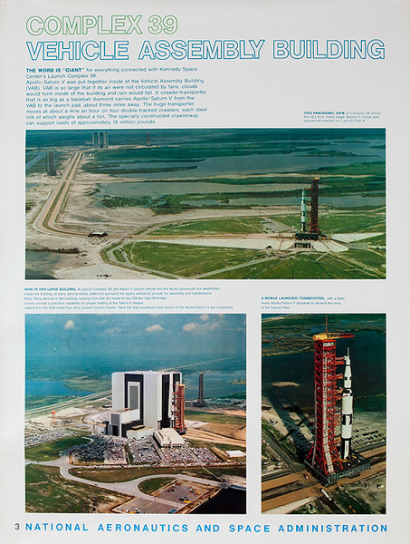 NASA Apollo Program Educational and Science Poster #3 Complex 39 Vehicle Assembly Building