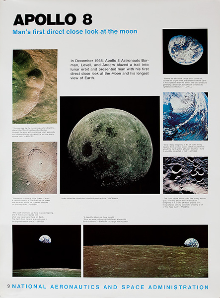 NASA Apollo Program Educational and Science Poster #9 8 Apollo 8 Man's FIrst Direct Close Look at The Moon