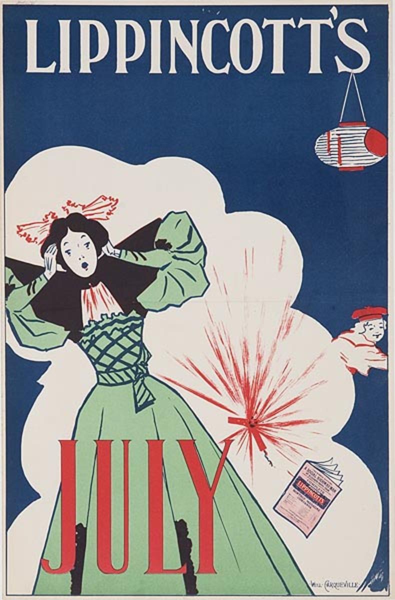 Lippincott's July Firecracker Original American Literary Poster