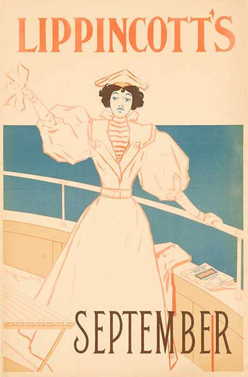 Lippincott's September Original American Literary Poster woman on boat