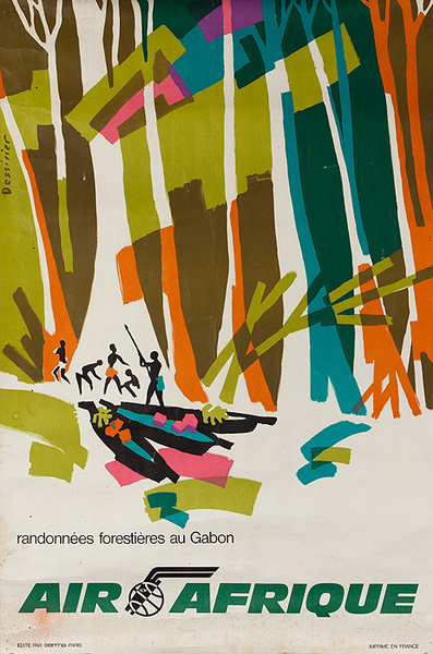 Air Afrique Original Travel Poster Gabon Africa