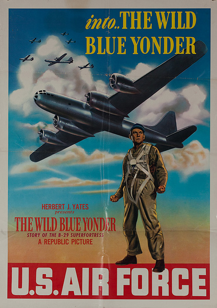 US Air Force Into The Wild Blue Yonder Original American Korean War Movie Recruiting Poster