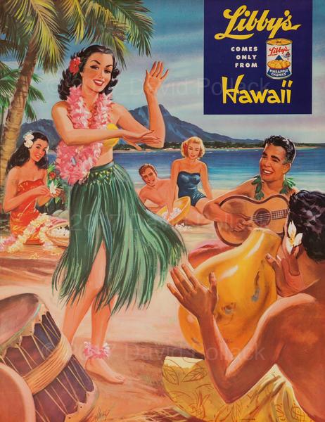 Libby's Hawaii Pineapple Original Advertising Poster Hula Dancer