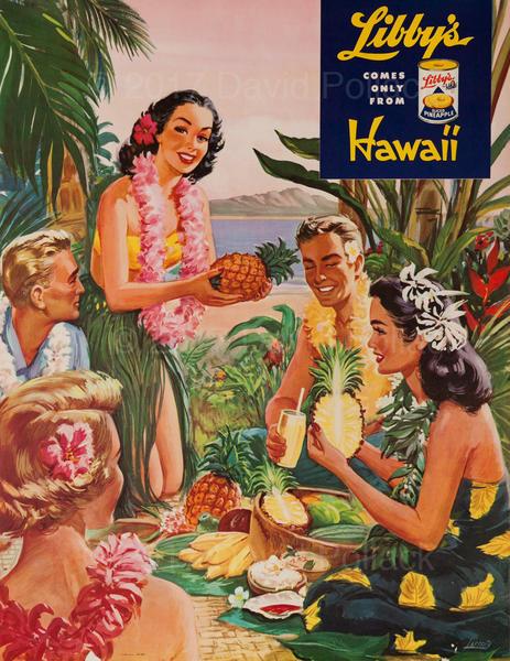 Libby's Hawaii Pineapple Original Advertising Poster Luau