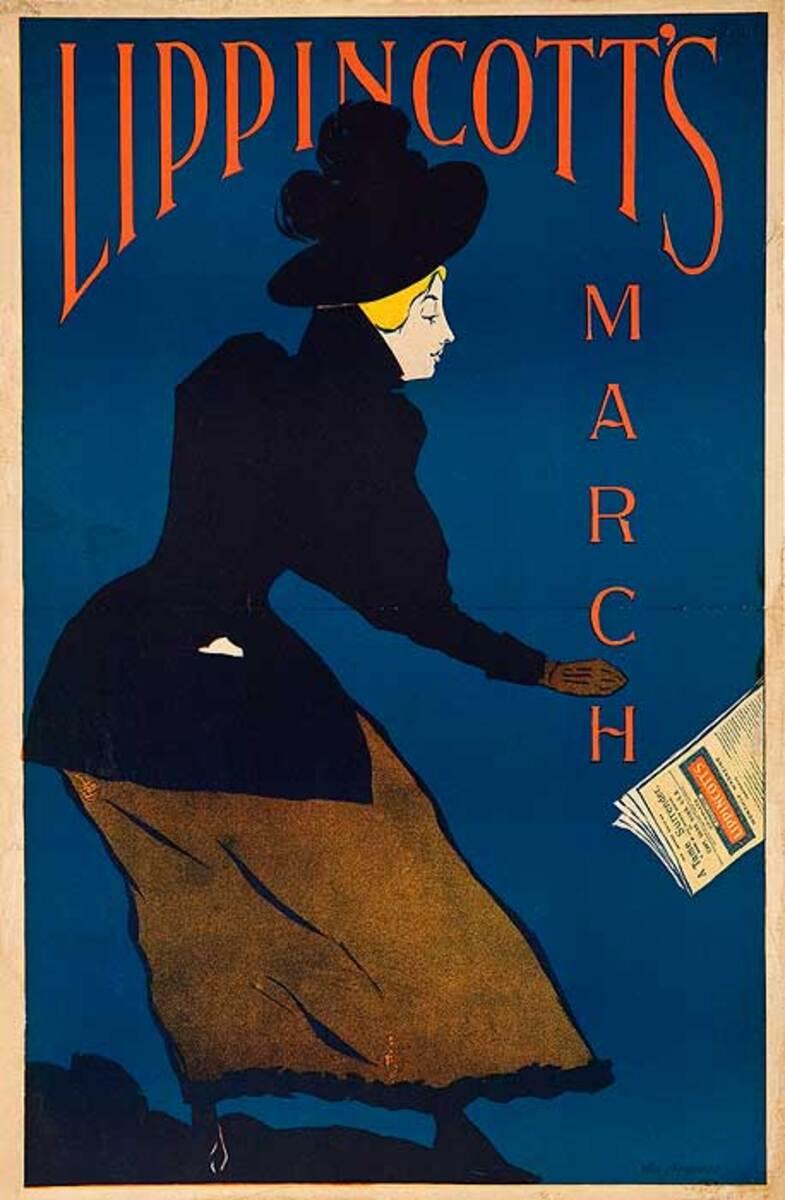 Lippincott's March Original American Literary Magazine Advertising Poster