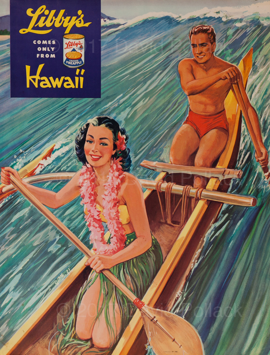 Libby's Hawaii Pineapple Original Advertising Poster Outrigger