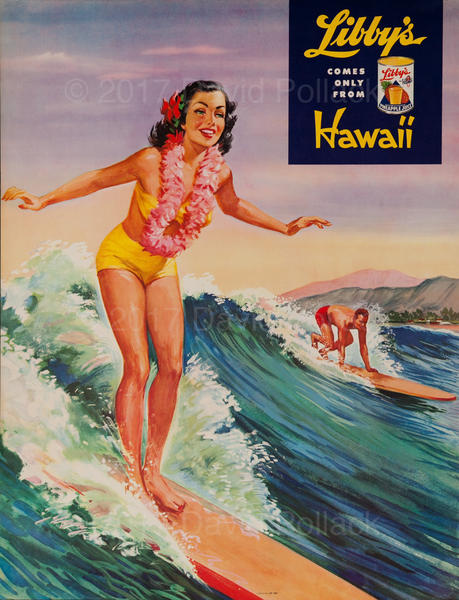 Libby's Hawaii Pineapple Original Advertising Poster Surfer
