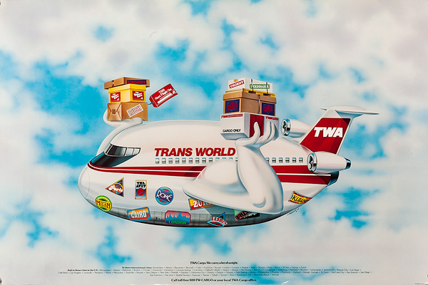 TWA Trans World Airways Original Cargo Poster