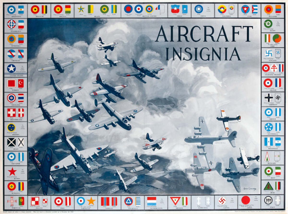 Aircraft Insignia Original American WWII Home Front Poster