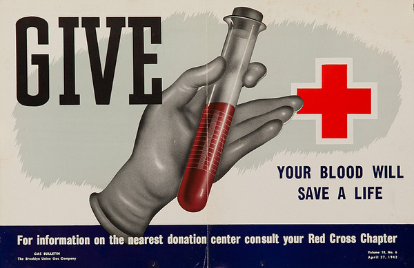Give, Your Blood WIll Save a Life Original WWII Home Front Poster