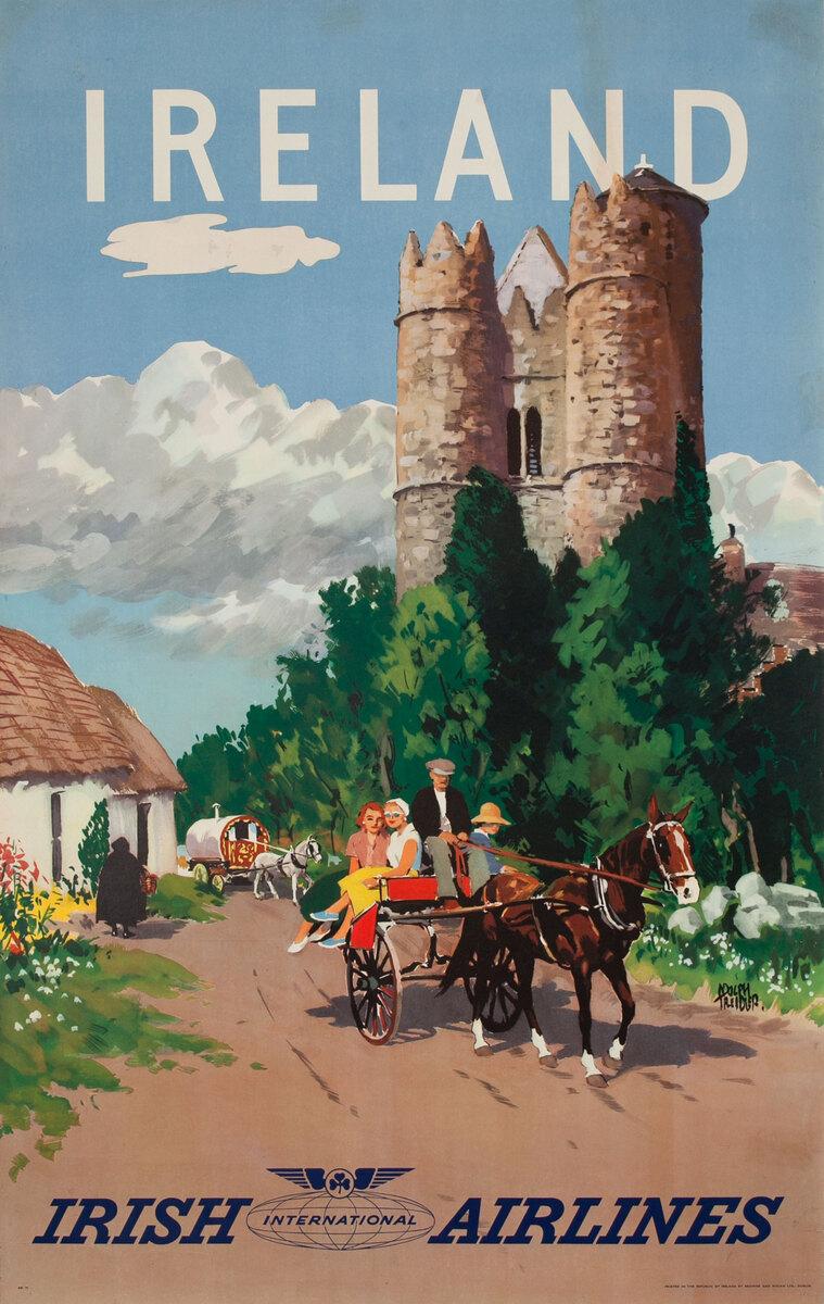 Ireland Irish International Airlines Travel Poster Castle
