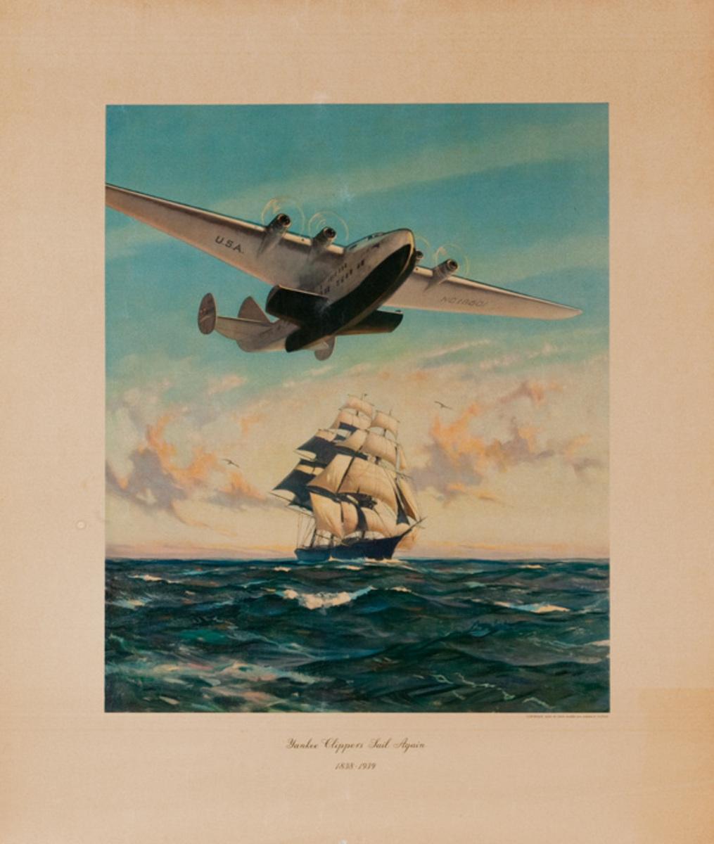 Original Pan Am Poster Yankee Clippers Sail Again 1838-1939