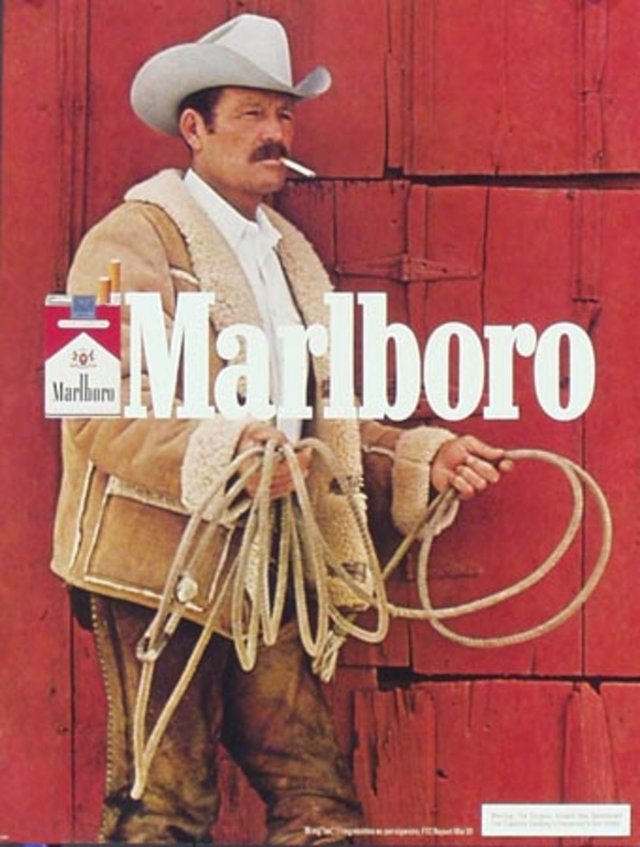 Marlboro Cigarette Cowboy Original Vintage Advertising Poster lariat