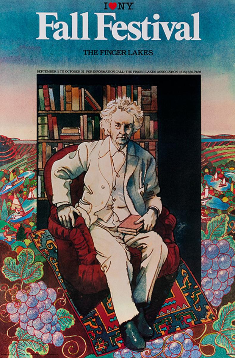 I love New York Fall Festival Original Travel Poster, Mark Twain