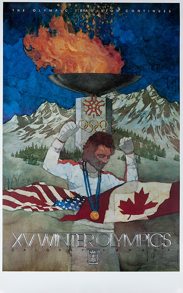 1988 Calgary Canada XV Winter Olympics Torch Poster