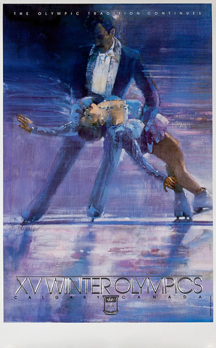 1988 Calgary Canada XV Winter Olympics Poster, Couples Ice Skating