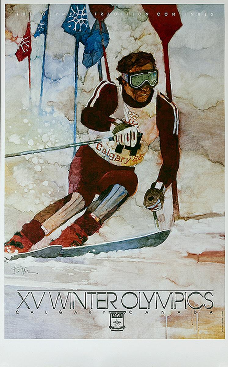 1988 Calgary Canada XV Winter Olympics Poster, Slalom Skiing
