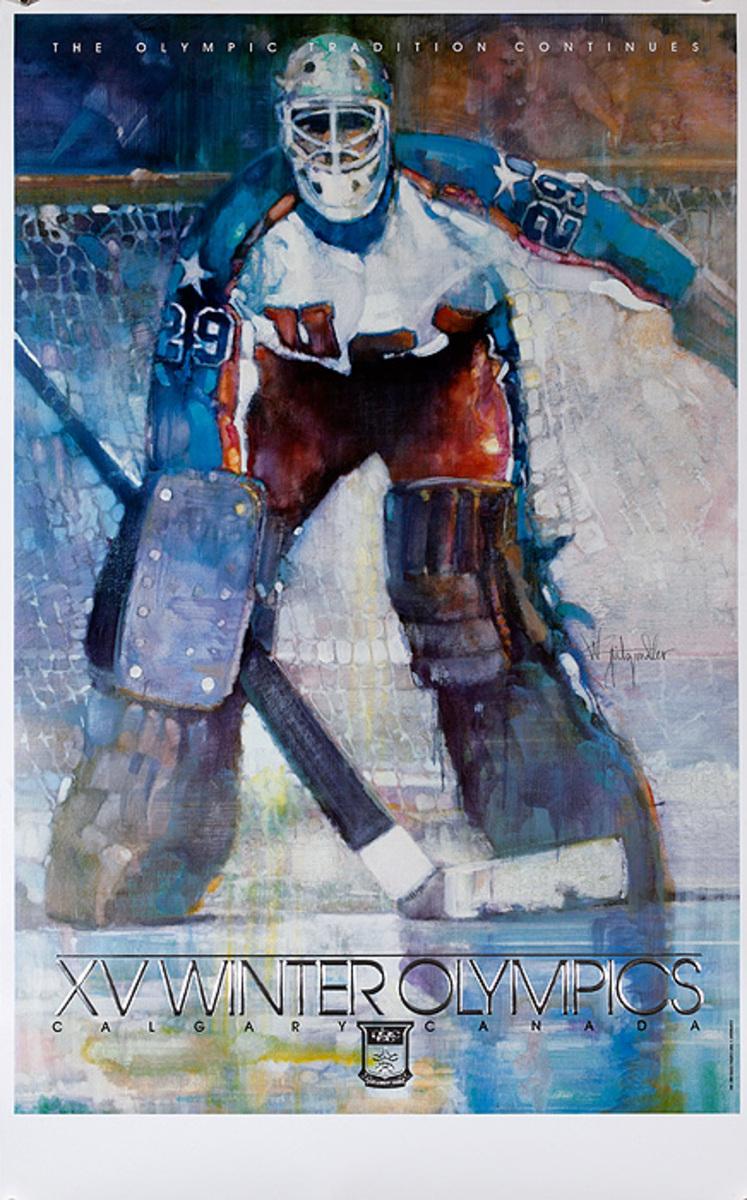 1988 Calgary Canada XV Winter Olympics Poster, Ice Hockey