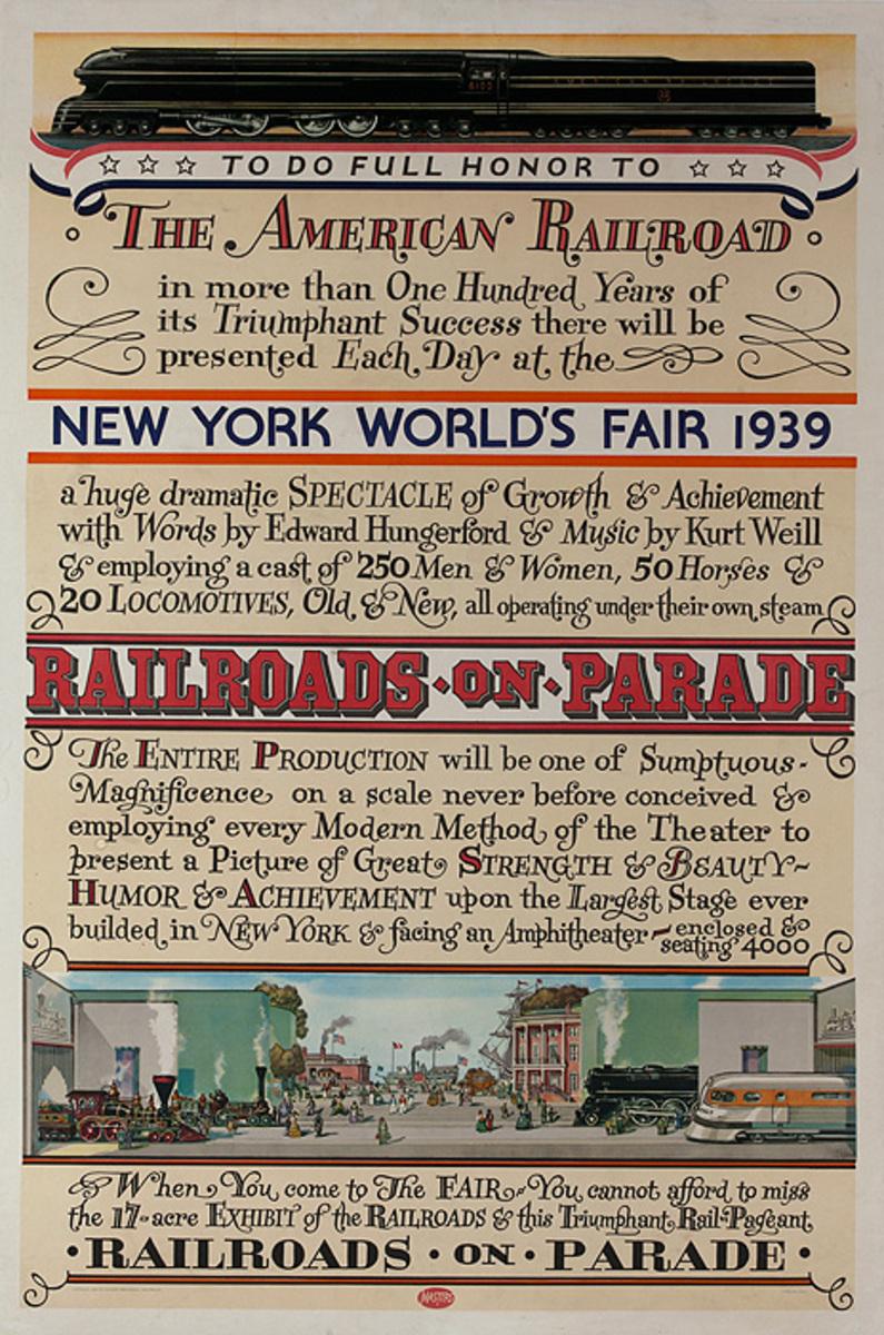 Railroads on Parade, Original 1939 New York World's Fair Poster
