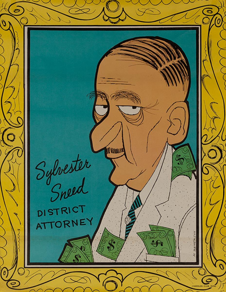 Sylvester Sneed, District Attorney,  Original Harold's Club Casino Poster