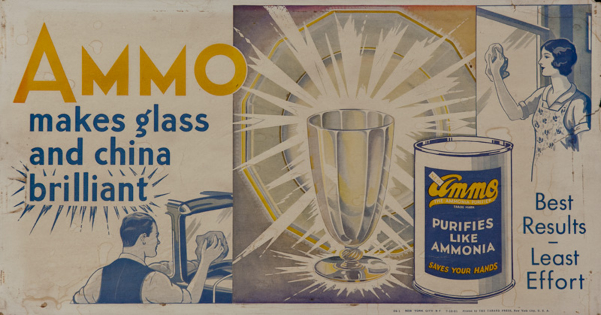Ammo Glass Cleaner Original Trolley Card Advertising Card