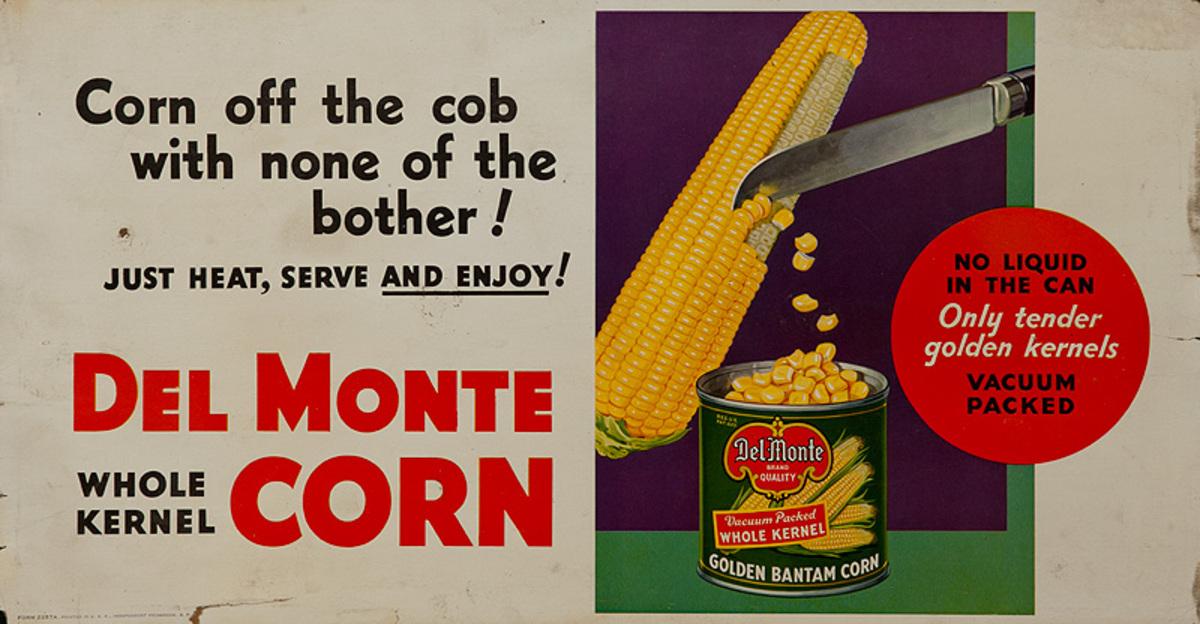 Del Monte Corn Original Trolley Card Advertising Card