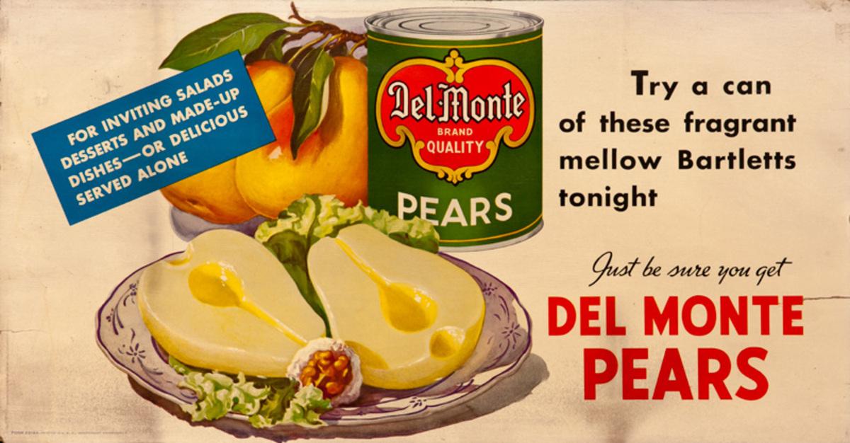 Del Monte Pears Original Trolley Card Advertising Card