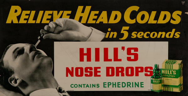 Hill's Nose Drops Original Trolley Card Advertising Card