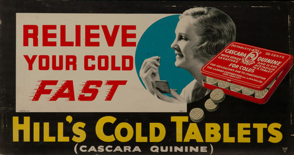 Hill's Cold Tablets Relieve Your Cold Fast, Original Trolley Card Advertising Card