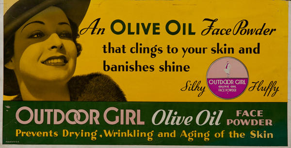 Outdoor Girl Olive Oil Face Powder, Original Trolley Card Advertising Card