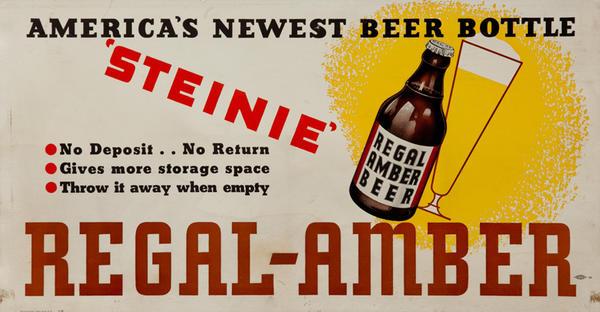 Regal Amber America's Newest Beer Bottle Steinie, Original Trolley Card Advertising Card