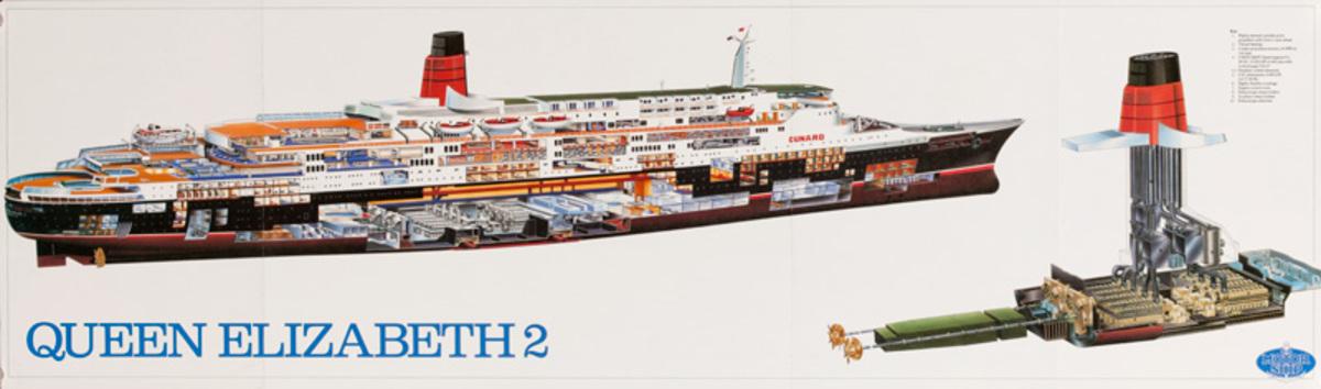 QE2 Queen Elizabeth Cruise Ship Cutaway Poster