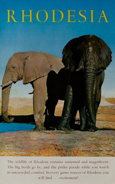 Rhodesia Elephants Original African Travel Poster Wankie National Park