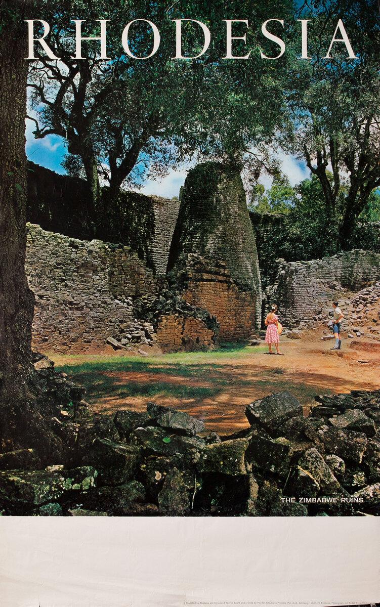 Rhodesia Original African Travel Poster, The Zimbabwe Ruins