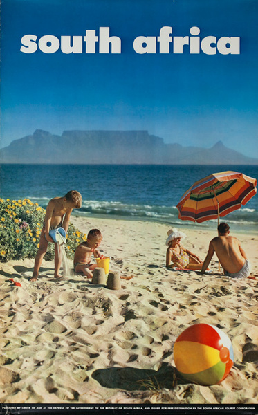 South Africa Travel Poster, family on beach