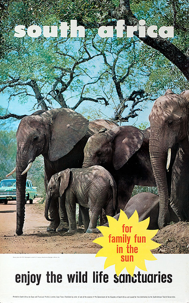 South Africa Travel Poster, For Family Fun in the Sun, Enjoy the Wild Life Sanctuaries