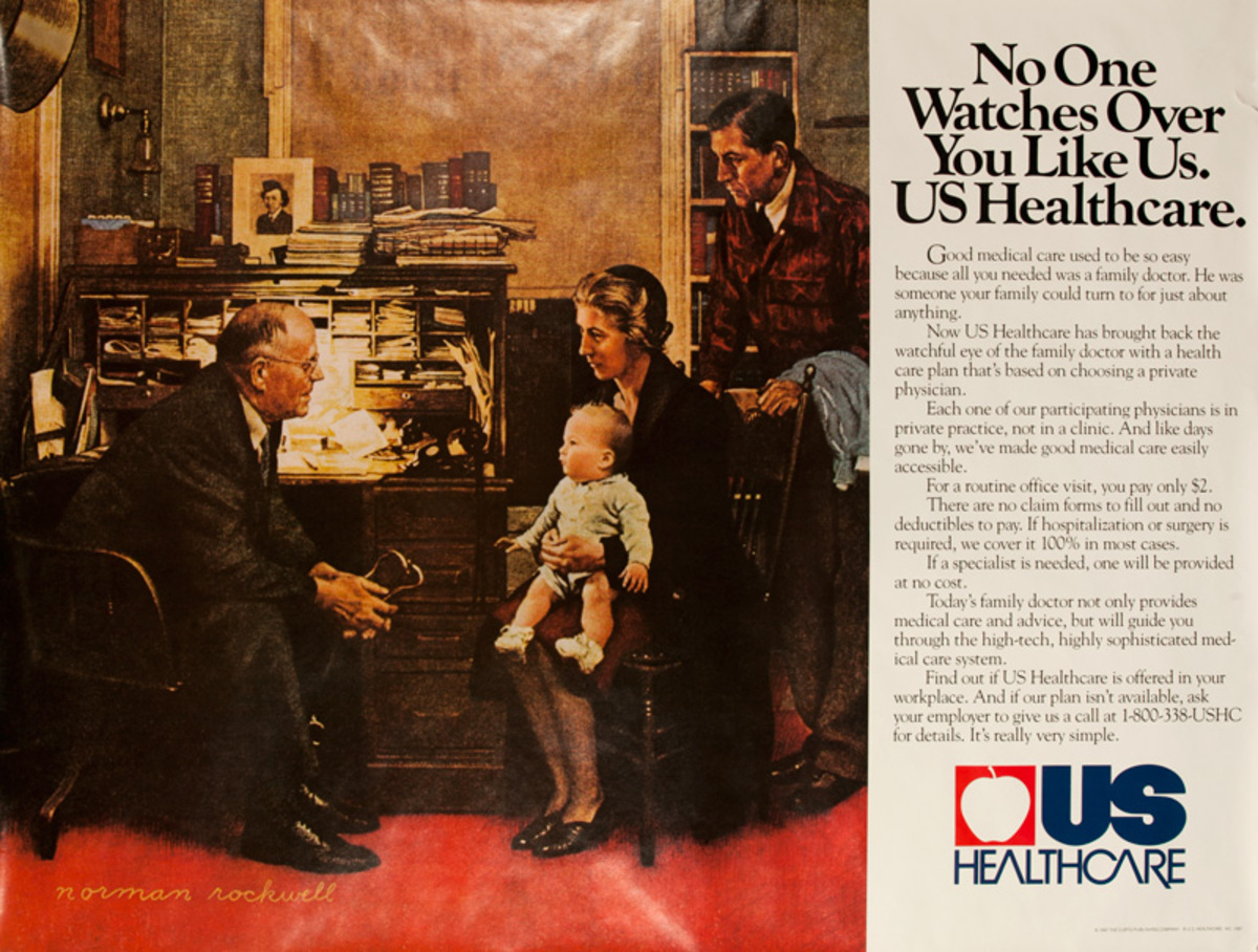 US Healthcare No One Watches Over You Like US Healthcare Original Adveritising Poster
