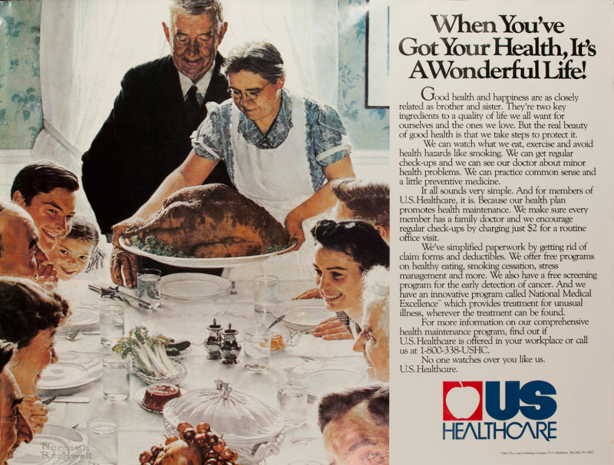 US Healthcare - U.S. Healthcare When You've Got Your Health, It's A Wonderful Life Original American Advertising Poster